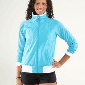 Lululemon Track Attack Jacket Spry Blue White